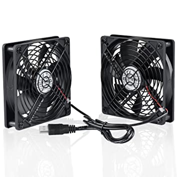 ELUTENG Ventilador USB Doble 12cm Fan Portatil 5V 0.3A Ventilador PC USB 2 In 1 con Parrilla de Metal USB Fan Ventilador 120mm para Laptop/Receptor/Armario ...