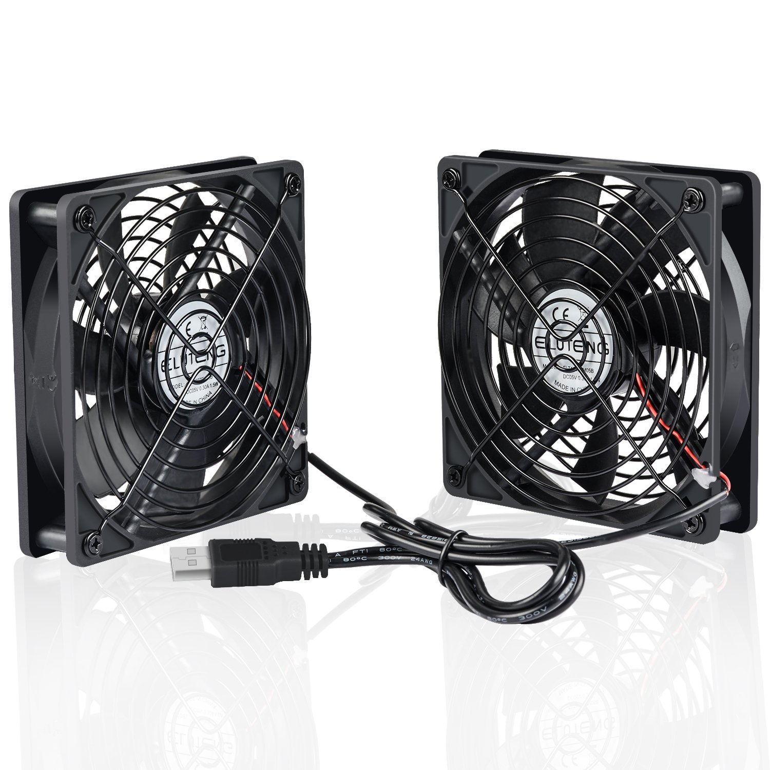 ELUTENG 120mm Fan 2 in 1 Dual USB Fan Computer Cooling Ventilator DC 5V for Laptop/Playstaion/Xbox One/Mini PC/Router/DVR Radiator Fan