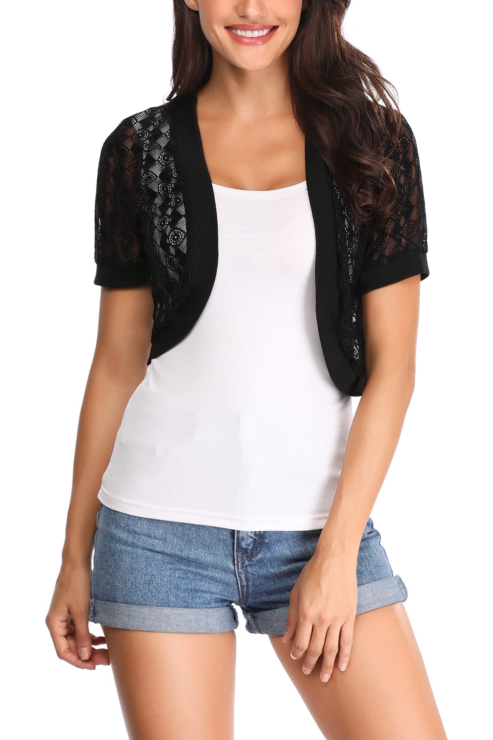 Aranmei Womens Short Sleeve Floral lace Shrug Open Bolero Cardigan(Black, X-Large)