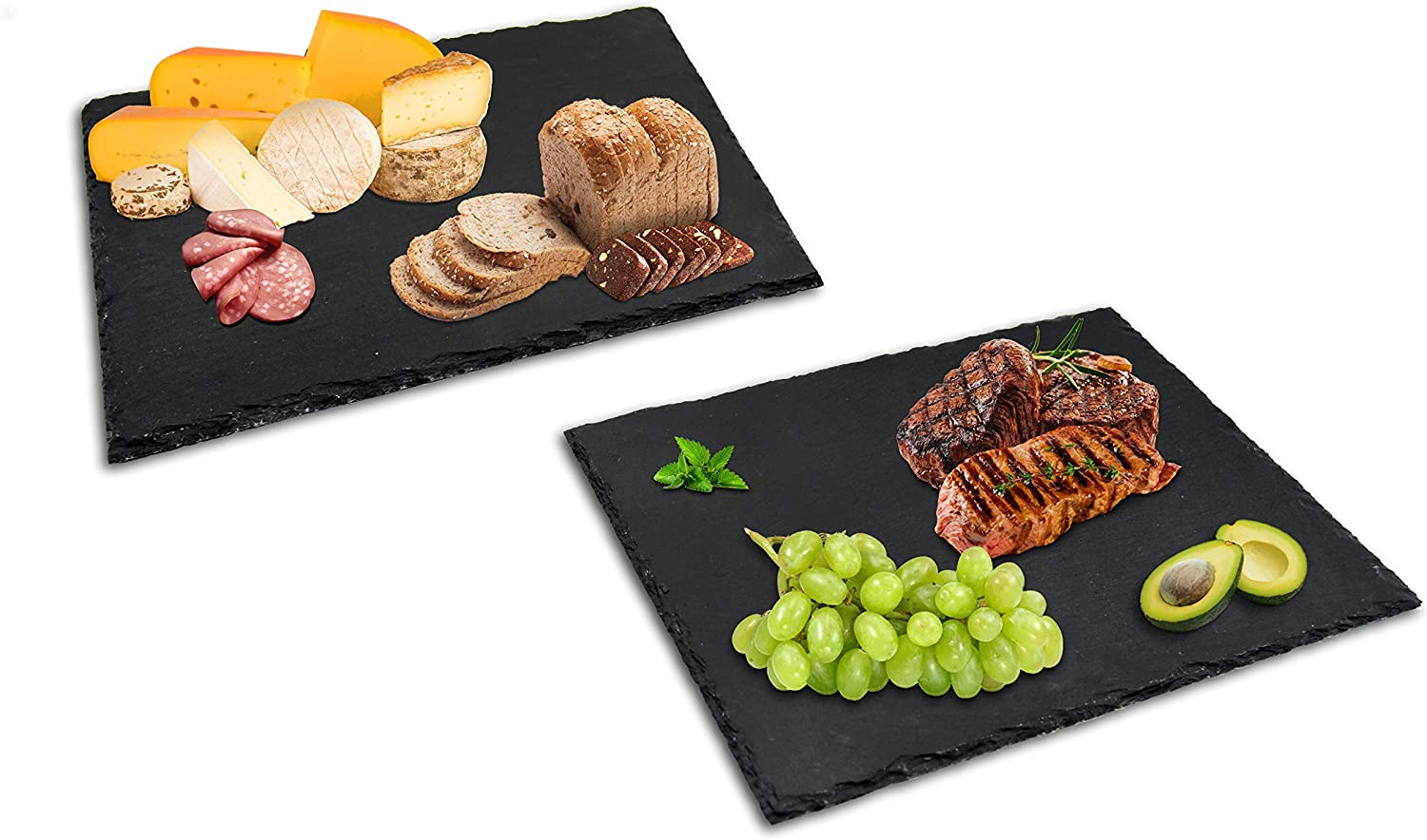 Extra Large Slate Cutting Plates 16x12In(30×40cm),2pc Natural Stone Rock Black Cutting Board Cheese Board,Charcuterie Boards for Cheese,Sushi Mat,Pastry,Bread,Snack and Meat board Set (Set of 2 Pcs)