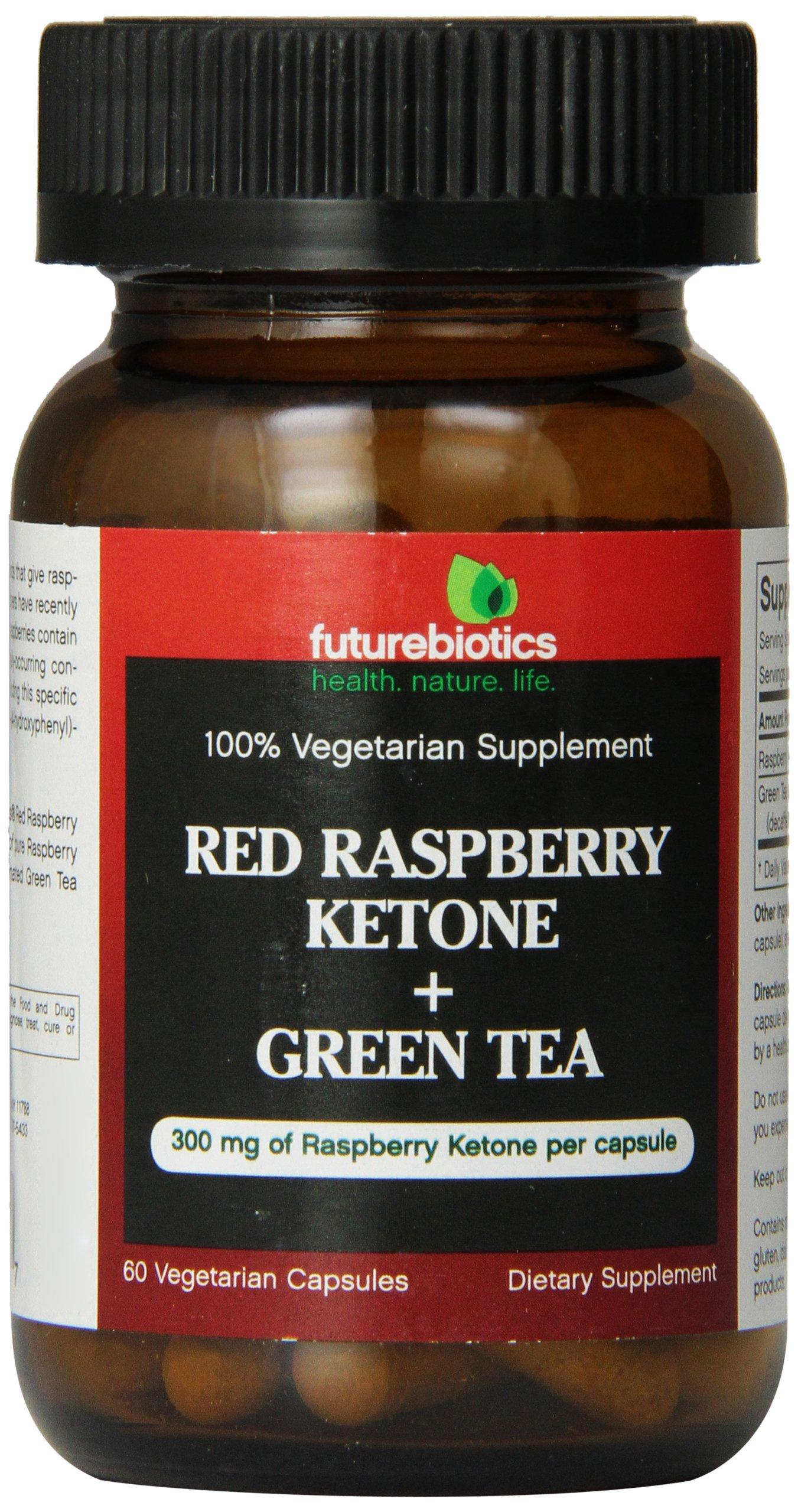 Futurebiotics Red Rasberry Ketone + Green Tea, 60 Vegetarian Capsules