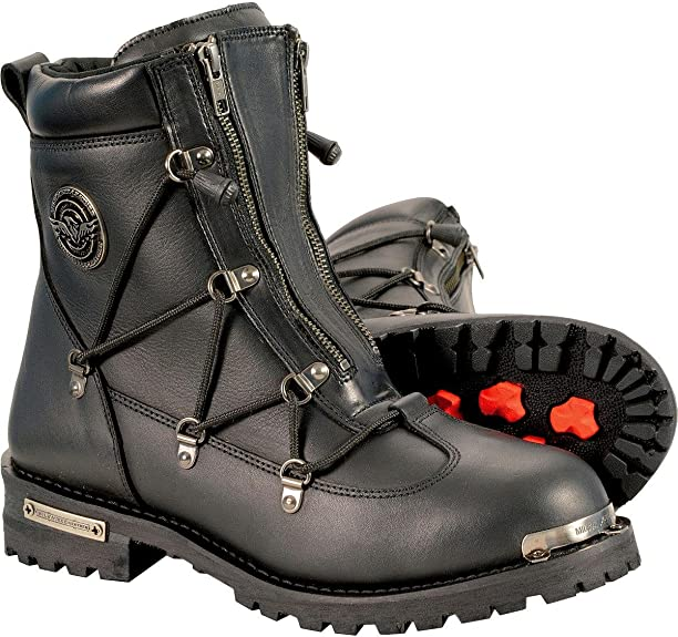9 Milwaukee Leather MBM9000 Mens Lace-Up Black Leather Boots with Side Zipper Entry