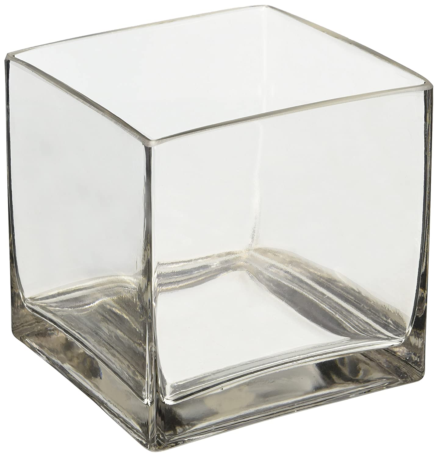 "Amazon 6"" Square Glass Vase 6 Inch Clear Cube Centerpiece"