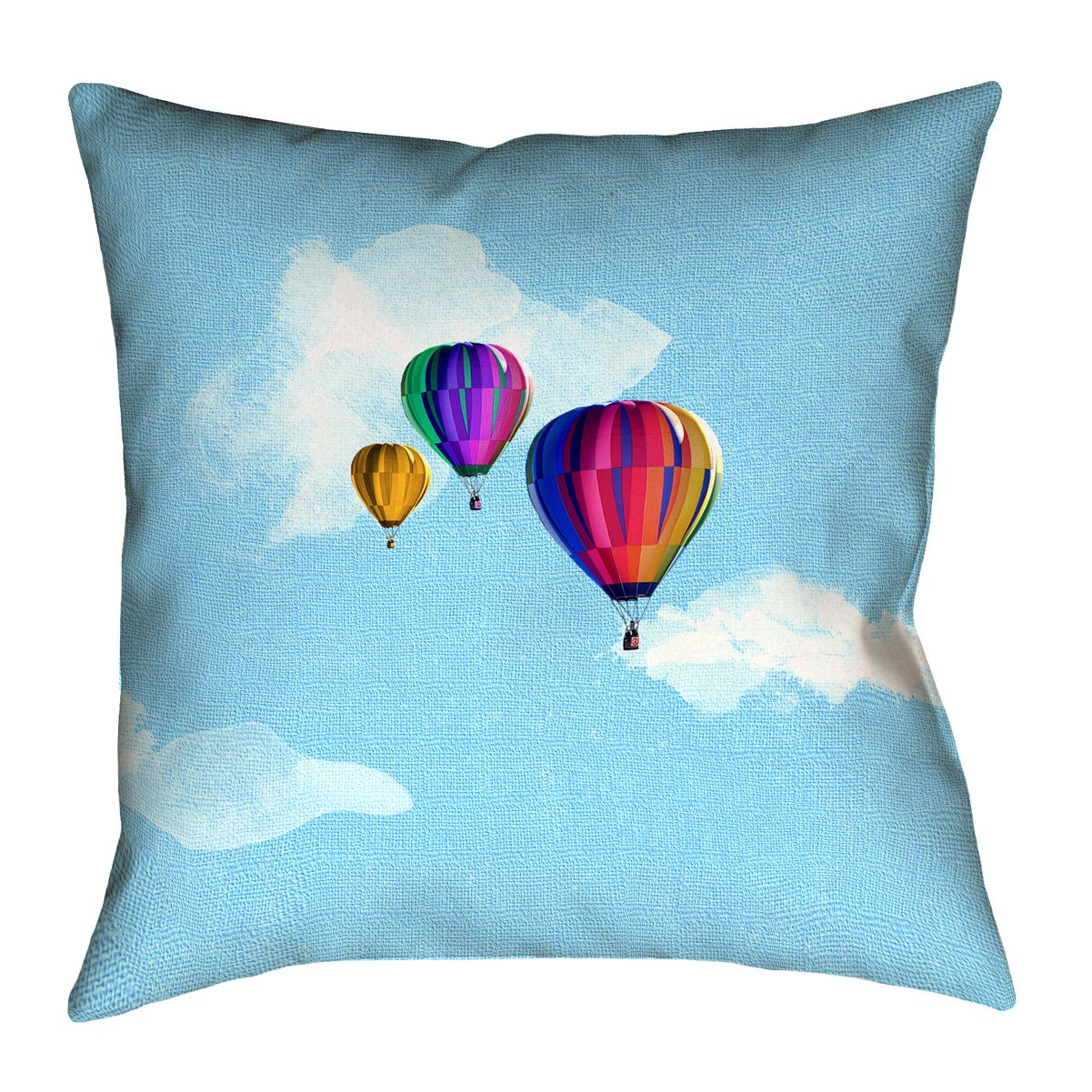 ArtVerse Katelyn Smith 20 x 20 Faux Suede Double Sided Print with Concealed Zipper /& Insert Hot Air Balloons Pillow