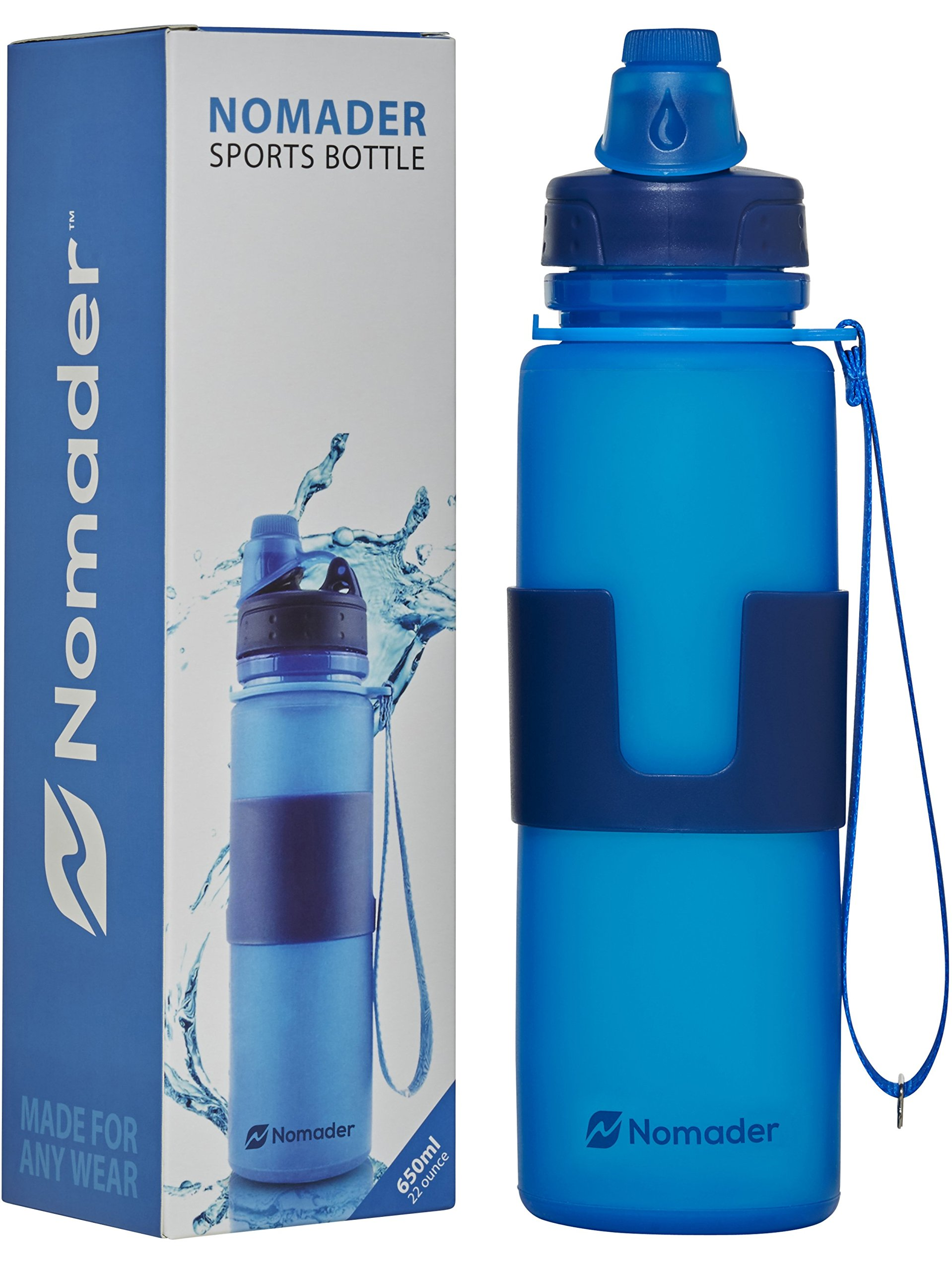 Nomader Collapsible Water Bottle Leak Proof Twist Cap
