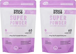 Molly's Suds Super Powder Detergent, Natural Extra Strength Laundry Soap, Stain Fighting and Safe for Sensitive Skin, 120 Loads 2 Pack, Lavender Scented