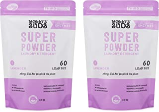 product image for Molly's Suds Super Powder Detergent, Natural Extra Strength Laundry Soap, Stain Fighting and Safe for Sensitive Skin, 120 Loads 2 Pack, Lavender Scented