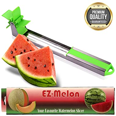 EZ Melon Stainless Steel Watermelon Slicer - Melon and Cantaloupe Fruit Slicer, Carver, Cutter, Knife - Carving and Cutting Tools for Home, Professional Restaurant Chefs - Easy Grip Kitchen Gadgets
