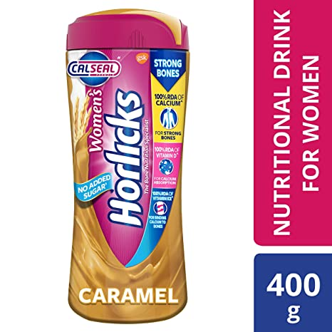 Women's Horlicks Health and Nutrition Drink, 400 gm, Caramel Flavor Jar (No Added Sugar)