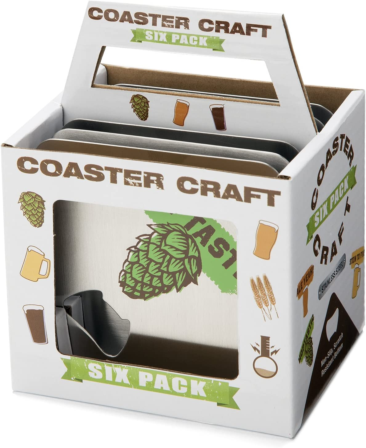 FuhlSpeed ACBC-006 Coaster Craft Stainless Steel Beverage Coasters with Built-In Bottle Openers 6 Pack The Fulham Group