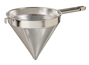 "Update International (CC-8C) 8"" Coarse Mesh Stainless Steel China Cap Strainer"