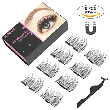 a0dc3db80fe Magnetic Eyelashes, KINIVA Reusable Dual Magnet False Eyelash, 1 Pairs 4  Pieces One Two