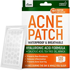 Acne Patches with Tea Tree Oil & Salicylic Acid - Fast & Efficient - Hydrocolloid Acne Patches for Cystic Acne, Blemishes, Breakout - Super Pimple Patches by Aeno Acne Treatment - 120 Zit Stickers