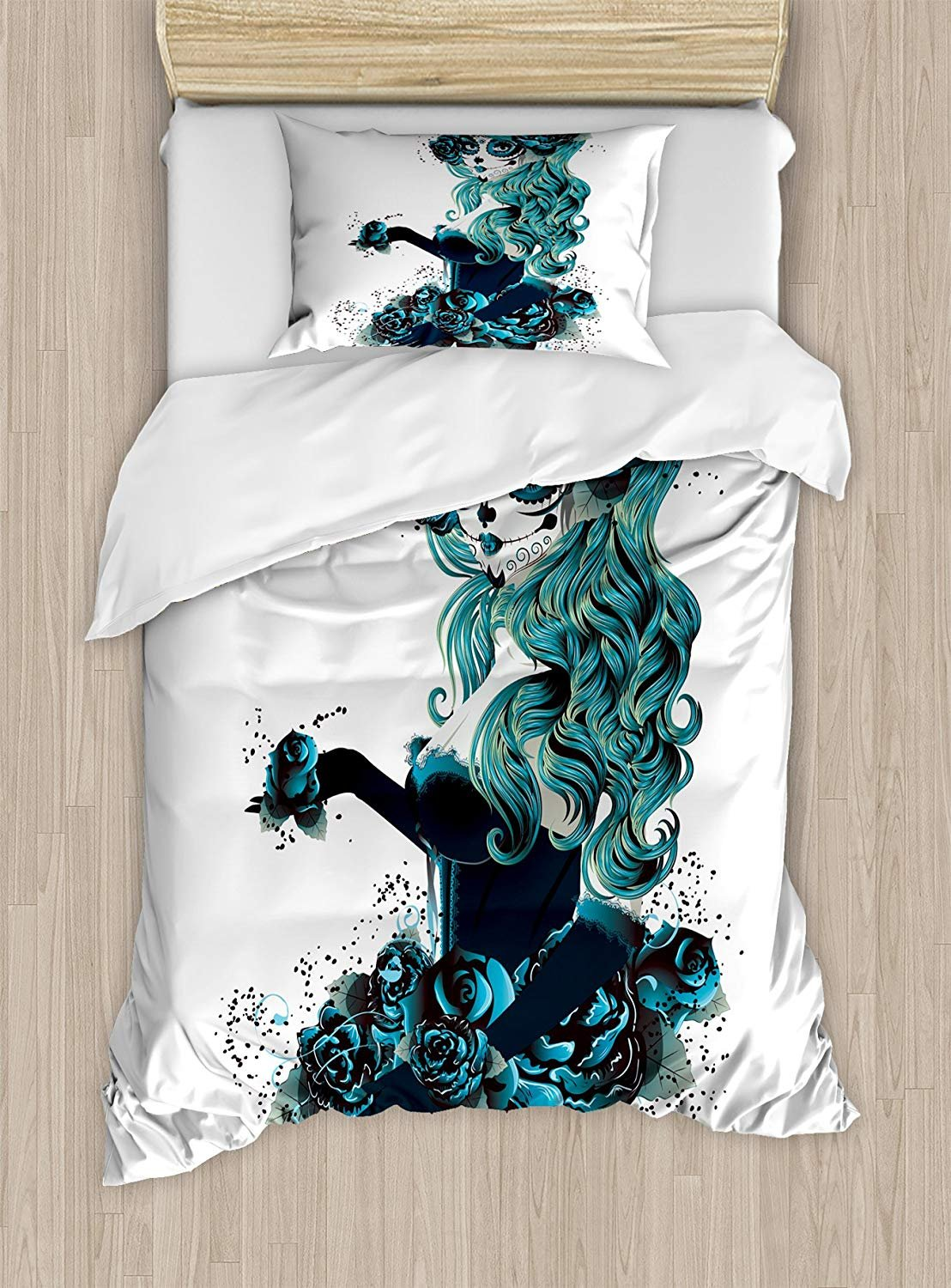 Twin XL Extra Long Bedding Set,Skull Duvet Cover Set,Vintage Sugar Skull Girl Bride with Dark Color Roses Graphic,Cosy House Collection 4 Piece Bedding Setss,Petrol Blue White