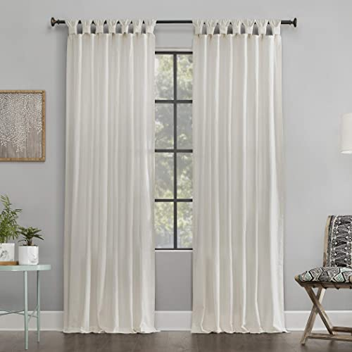 Archaeo Washed 100 Cotton Twist Tab Curtain, 52 x 84 Panel, Ivory