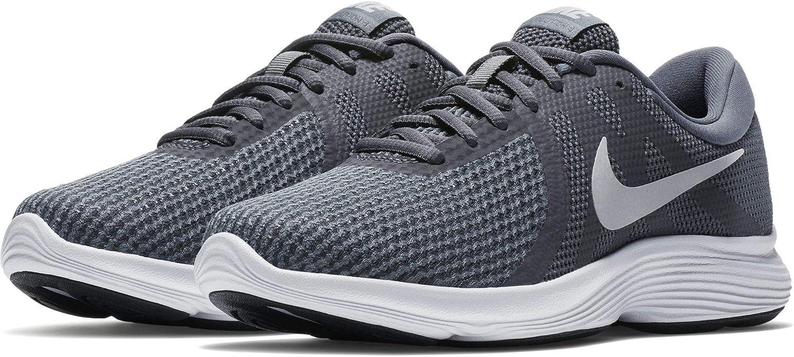 Nike Revolution 4 Sneakers Laufschuhe Damen Dunkelgrau mit roten Streifen (Dark Grey/Pure Platinum/cool Grey)