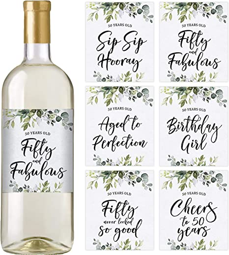 Set of 6 Waterproof Labels 50th Birthday Party Decorations Birthday Gifts For Her 50th Birthday Wine Bottle Labels Ideas and Supplies