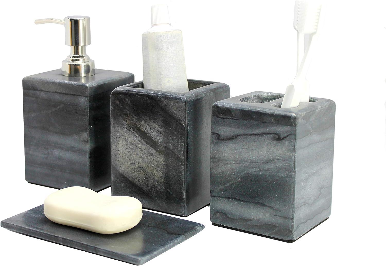 Kleo/ soporte para cepillo de dientes /accesorios de ba/ño 4/unidades incluye dispensador de jab/ón l/íquido /Set de accesorios de ba/ño de piedra natural negro y gris/ vaso y jabonera