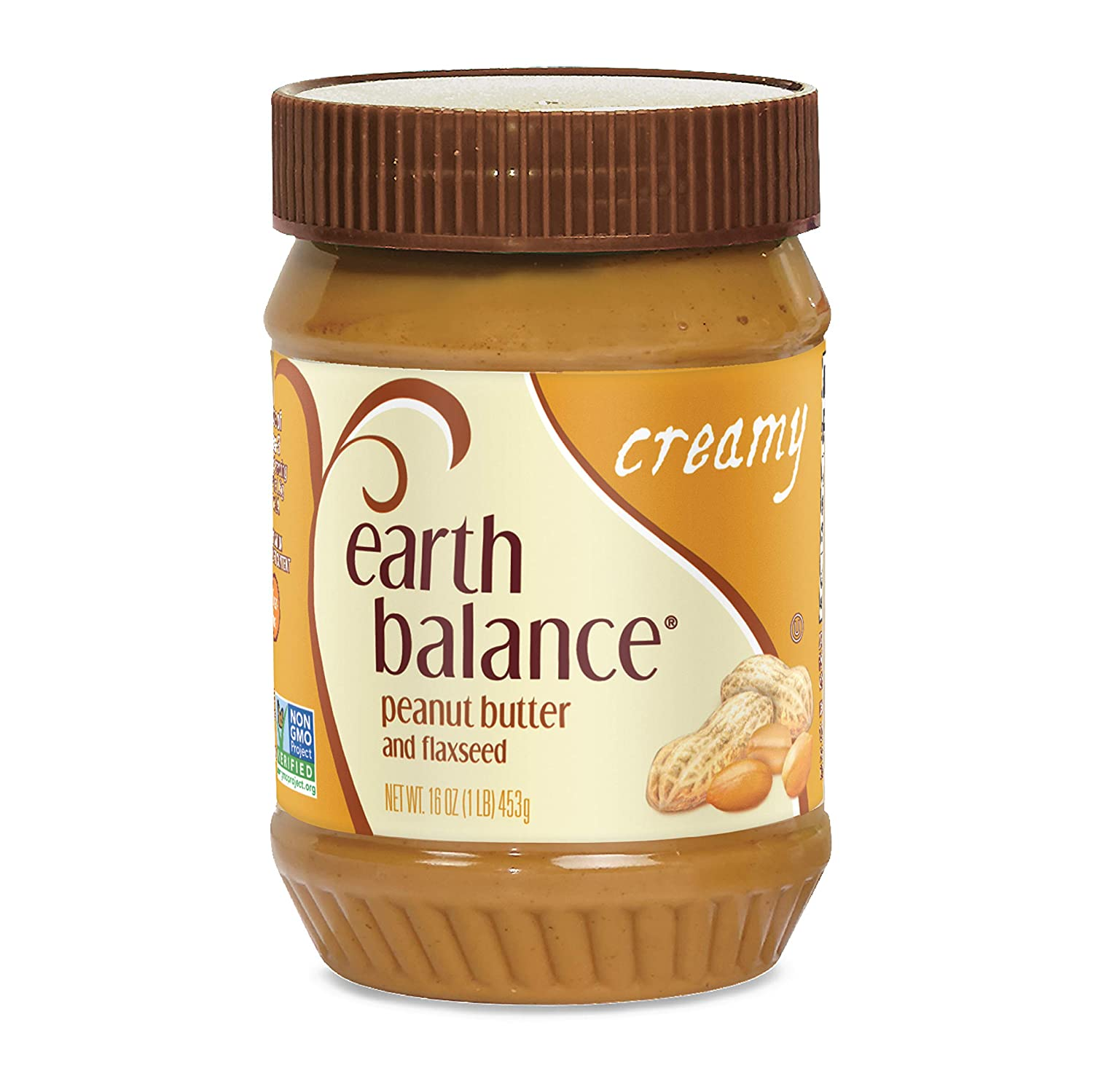 Earth Balance Natural Peanut Butter and Flaxseed Spread, Creamy, Vegan, Non-GMO Project Verified, Gluten Free, 16 Ounce