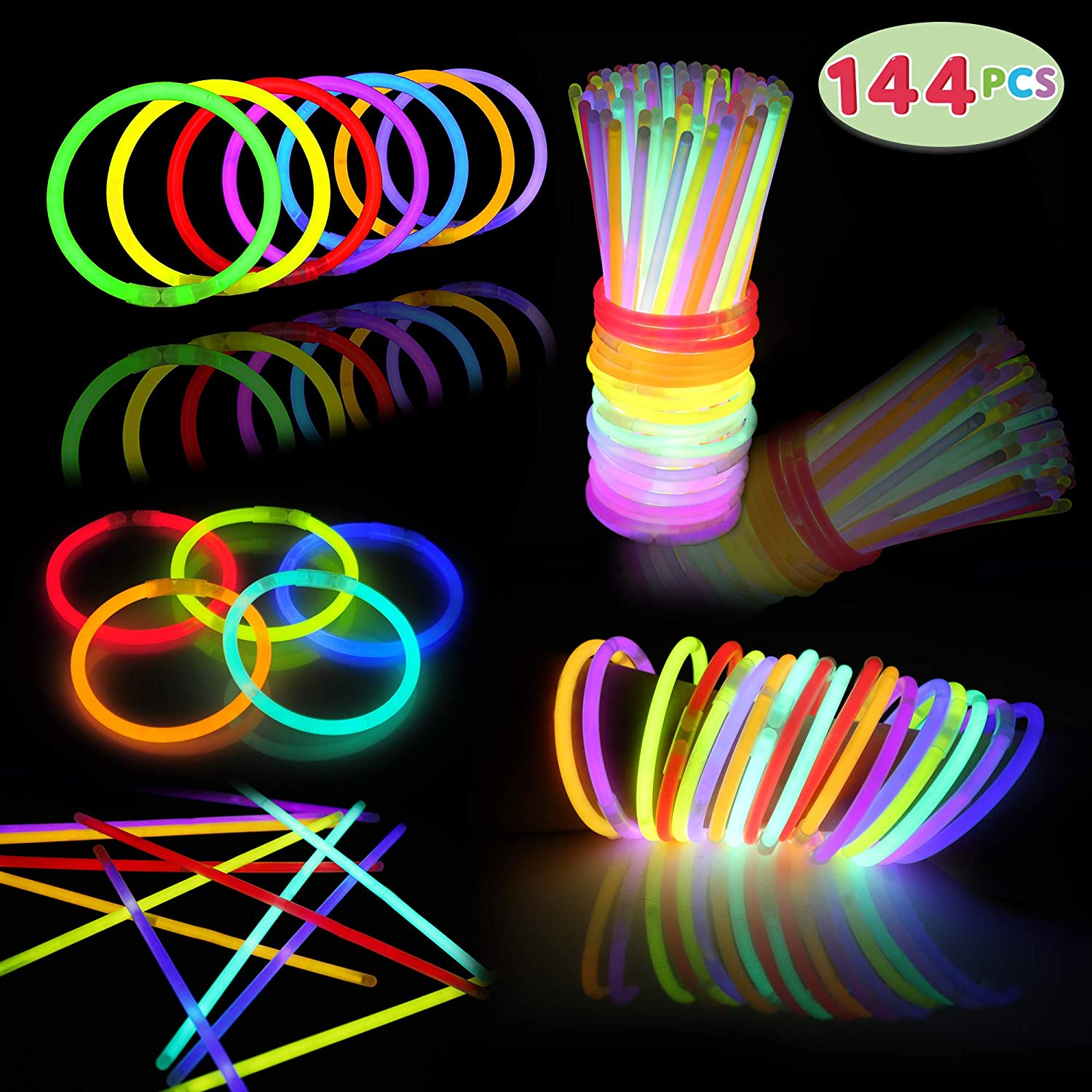 144 PCs Glow Sticks Bulk for Glowstick Party Favors, Colorful Neon Glow in The Dark Necklace & Bracelet Supplies, Birthday Christmas Halloween Football Party Disco Supplies, Camping Accessories