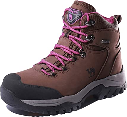 CAMEL CROWN Mens Waterproof Hiking Boots Comfortable Warm Leather Snow Boots Lightweight Trekking Shoes for Working