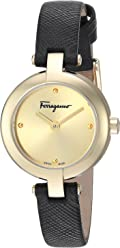 Salvatore Ferragamo Women's Miniature' Swiss Quartz Stainless Steel and Leather Casual Watch, Color:Black (Model: FAT020017)