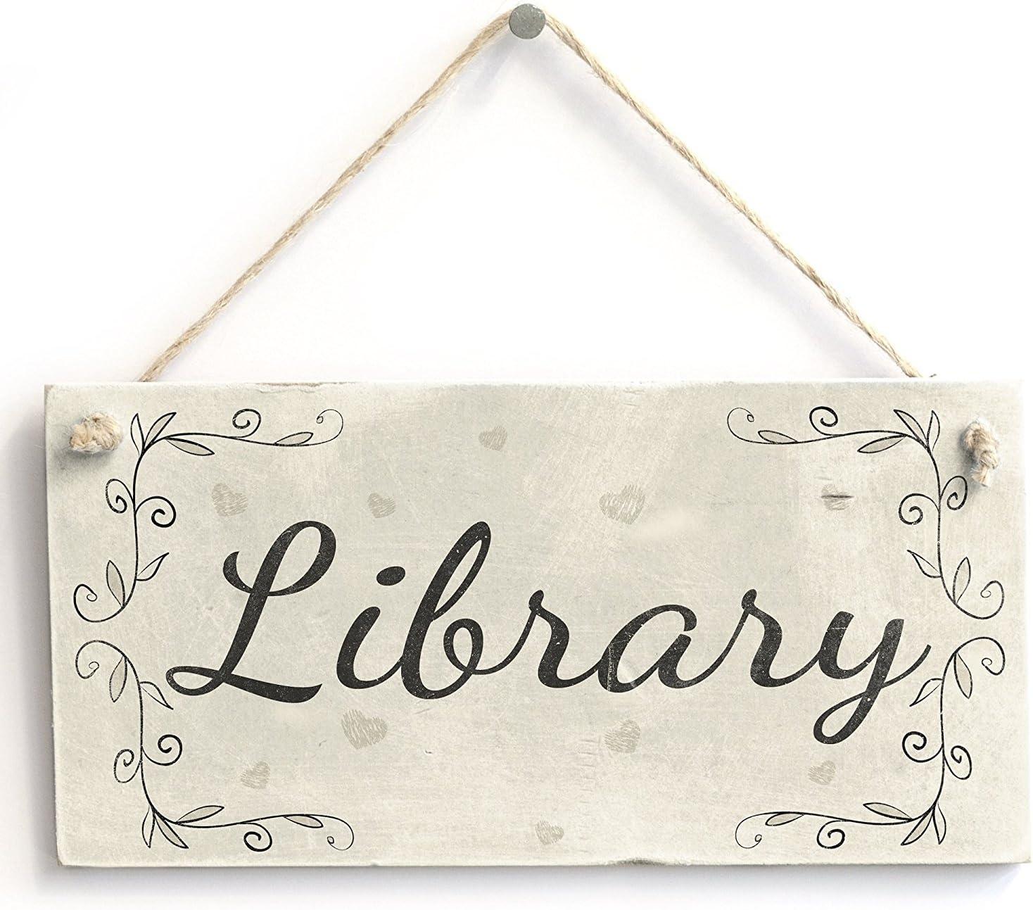 "Meijiafei Library - Rustic Country PVC Home Door Sign/Plaque Reading Room 10""x5"""