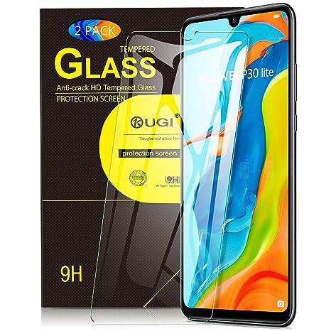 KuGi. para Huawei P30 Lite Protector de Pantalla, Cristal Templado [9H Dureza] [Alta Definicion] Protector de Pantalla Diseñado para Huawei P30 Lite ...
