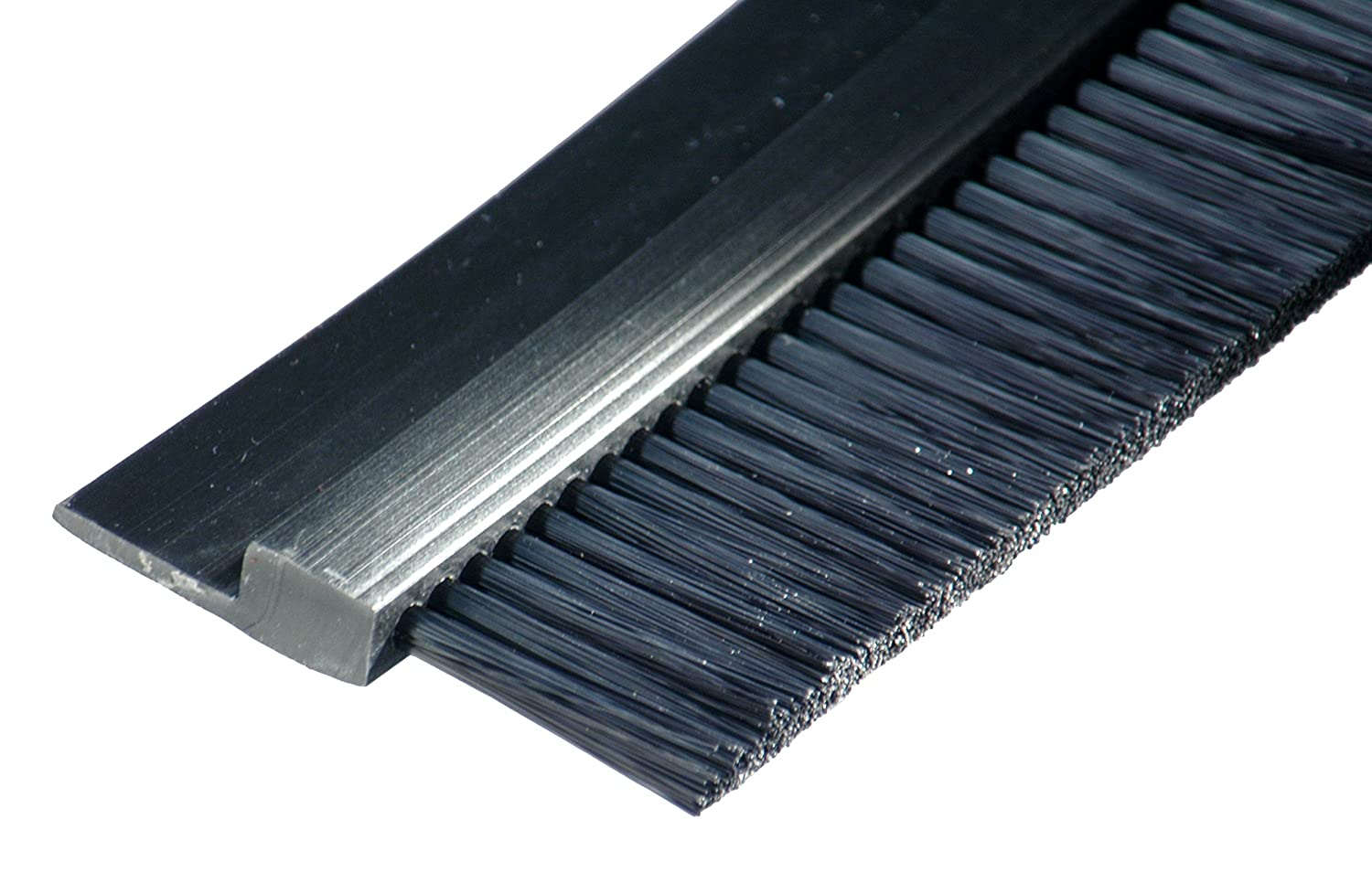 "Tanis Brush FPVC142036 Stapled Strip Brush with Flexible PVC, H-Shaped Profile, Black Nylon Bristles, 3' Overall Length, 2"" Trim Length, 3"" Overall Height"
