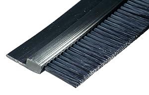 "Tanis Brush FPVC142036 Stapled Strip Brush with Flexible PVC, H-Shaped Profile, Black Nylon Bristles, 3' Overall Length, 2"" Trim Length, 3"" Overall Height"