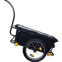 Baumarktplus Fahrradanhänger Handwagen Transportanhänger Lastenanhänger Fahrradwagen Trailer mit Anhängerkupplung und Abdeckplane
