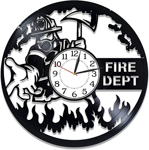Kovides Fire Department Vinyl Clock 12 Inch