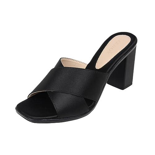88213636b Catwalk Black Slip-on Heel Sandals  Buy Online at Low Prices in ...