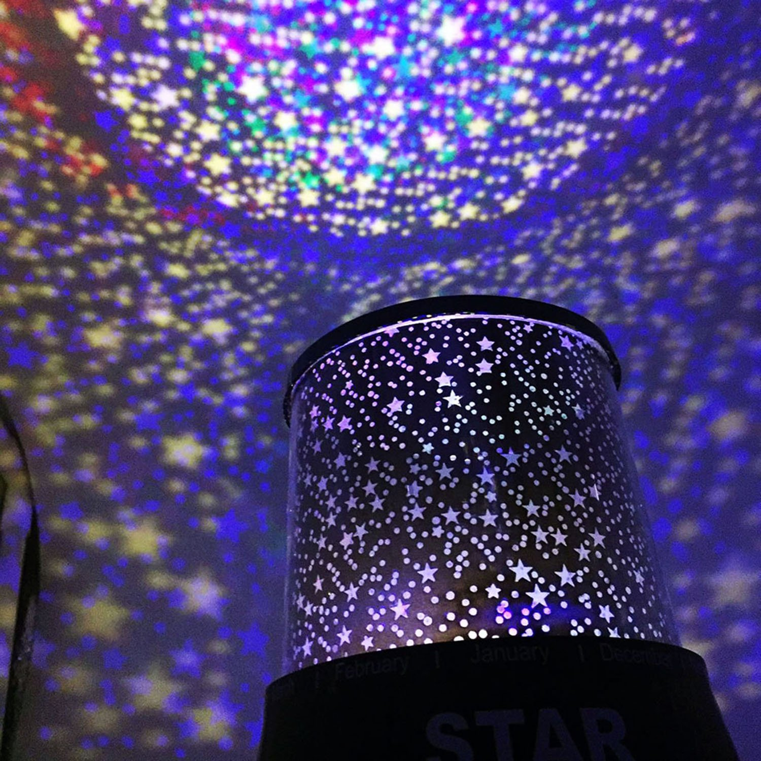 LED Star Night Light Projector for Kids, Children's Night Lamp, Baby Kids Sleep Projector Rotation Colorful Light Lamp, Unique Gifts for Children (Black)
