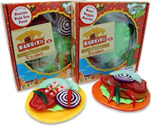 Stretcheez Burrito Two Pack - Play Food for Kids - Stretchy Pretend Food & Toppings - Mix & Match - Collect Them All - Works with Role Play Kitchens - Twelve Assorted Sets Available for Boys & Girls