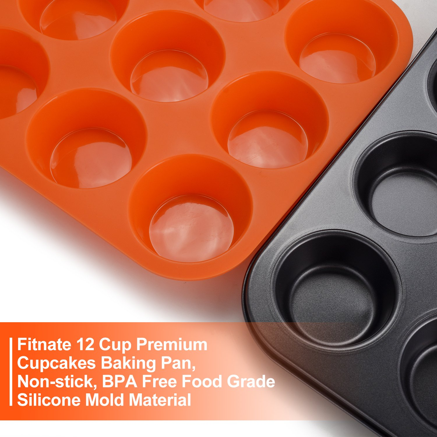 FITNATE Bakeware Silicone Muffin Pan 12 Cup, BPA-free, Non Stick by FITNATE (Image #3)