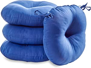 South Pine Porch AM6816S4-MARINE Solid Marine Blue 15-inch Round Outdoor Bistro Chair Cushion, Set of 4