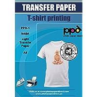 PPD A4 Carta di Trasferimento a getto d'inchiostro Per Magliette Di Colore Chiaro x 20 Fogli