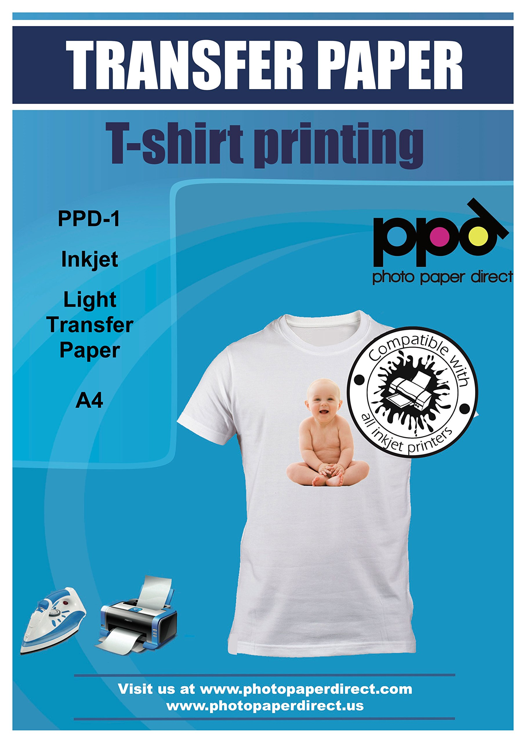 PPD Inkjet Iron-On Light T Shirt Transfers Paper LTR 8.5x11'' Pack of 40 Sheets (PPD001-40)