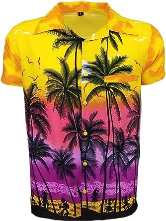 SAITARK - Camisa Casual - Floral - para Hombre Multicolor Amarillo X-Large: Amazon.es: Ropa y accesorios