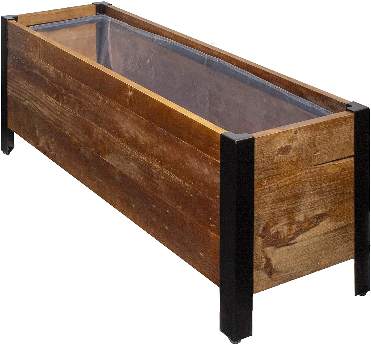 AmazonBasics Recycled Wood Rectangular Garden Planter