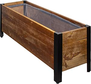 "AmazonBasics Recycled Wood Rectangular Garden Planter - 27.5"" x 9.6"" x 33"""