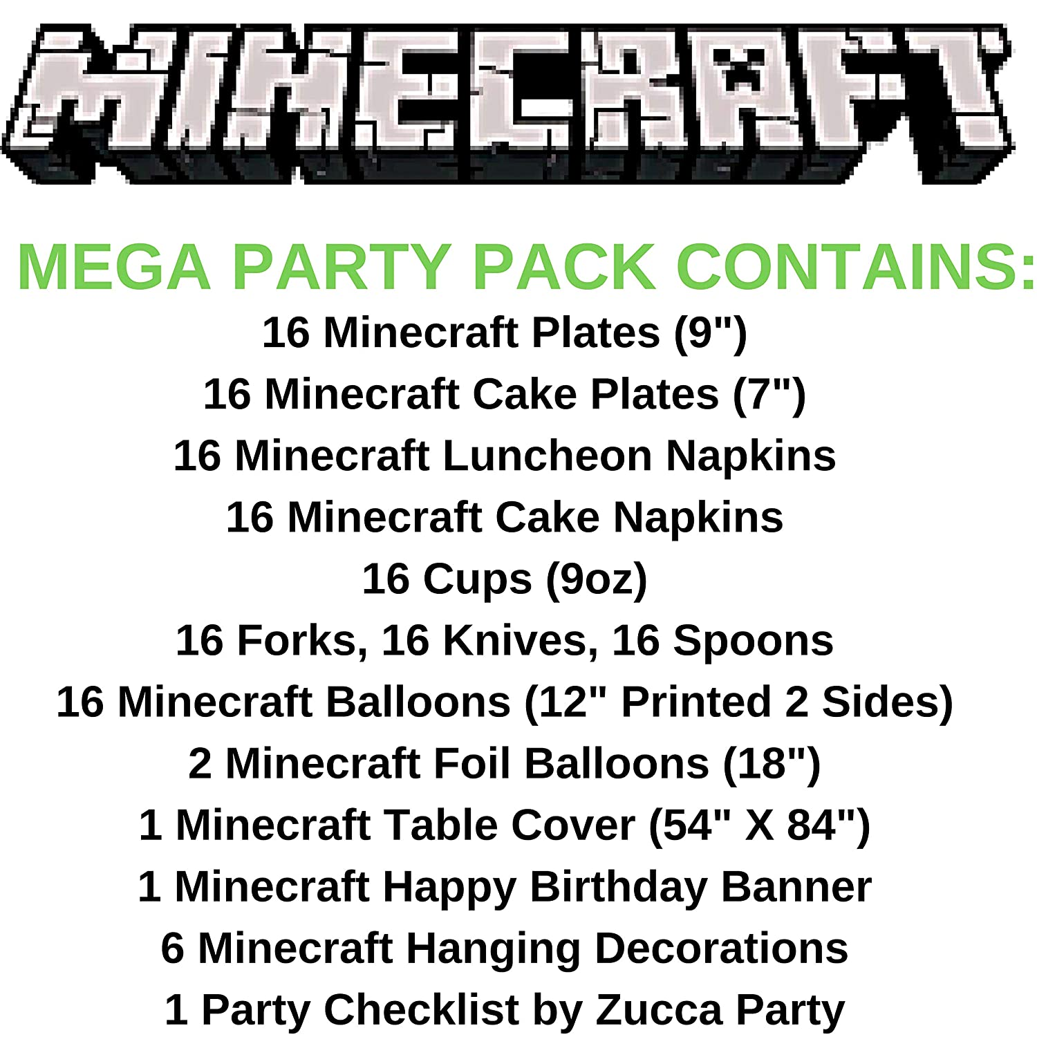 Zucca Halloween Minecraft.Amazon Com Minecraft Birthday Party Supplies Pack For 16 Guests