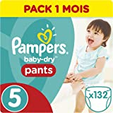 Pampers Baby-Dry pantalones, tamaño 5, pack de 3, 132-count