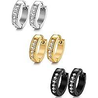 Sailimue 1-3 Pairs 13mm Stainless Steel Small Hoop Earrings for Men Women CZ Earrings