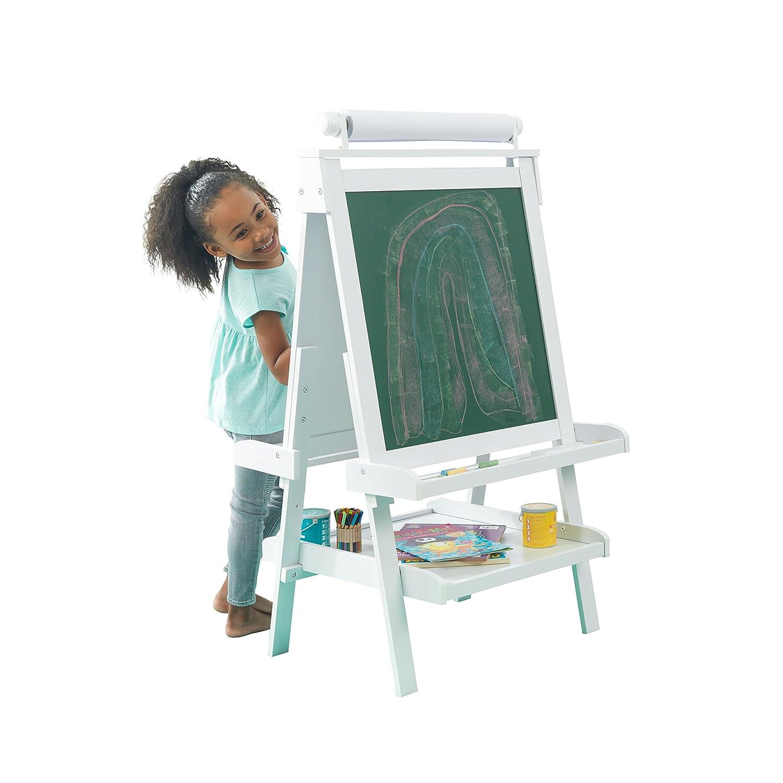 Farbe und mehr f/ür Kinder Kreide Malset kompatibel mit Stiften KidKraft 62040 Deluxe Staffelei aus Holz wei/ß