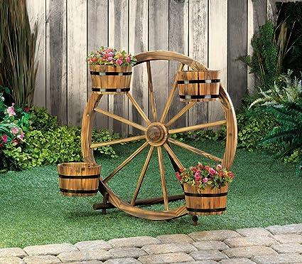 Superbe Planters Garden Decor New Wagon Wheel Barrel Planter Display Garden Wooden  Outdoor Flower Yard Stand