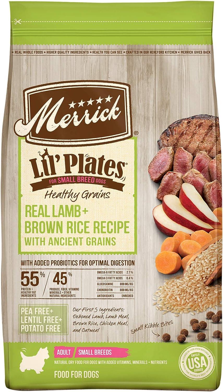 Merrick Lil' Plates Healthy Grains Small Breed Dry Dog Food Real Lamb + Brown Rice Recipe - 4.0 lb Bag