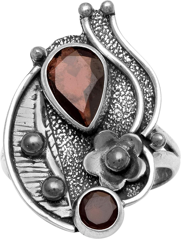 Clásico Plata 925 1.15 Ctw Natural Granate Piedra preciosa Anillo antiguo delicado