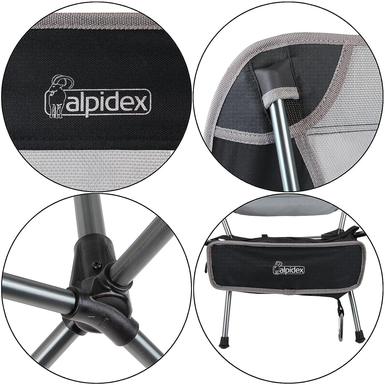 ALPIDEX Silla Camping Plegable Ultraligera Inclusive Bolsa de Transporte y mosquet/ón Solo 930 g soporta hasta 180 kg